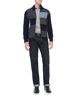 Etro Colorblock Full-Zip Cardigan, Multi-Check Sport Shirt & Dark-Wash Five-Pocket Jeans