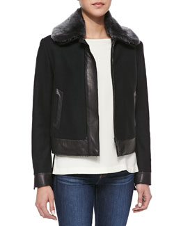 Rag & Bone Boxer Fur-Collar Leather-Trim Jacket & Jade Colorblock Boat-Neck Blouse