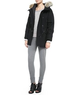 Rag & Bone Waterloo Fur-Trim Quilted Parka, Addison Wool-Blend Raglan Pullover Sweater & Charlize Sweater-Knit Cuffed Leggings
