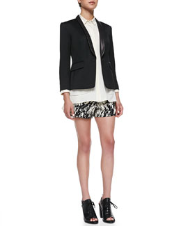 Rag & Bone Harper One-Button Blazer, Sally Long-Sleeve Shirt & Em Printed Twill Shorts