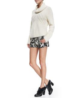 Rag & Bone Cece Cowl-Neck Knit Sweater & Em Printed Twill Shorts
