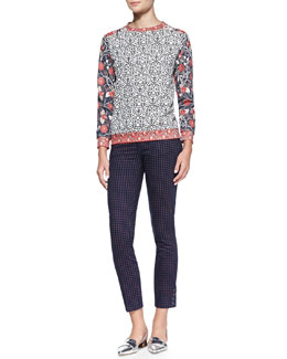 Tory Burch Ronnie Long-Sleeve Printed Pullover & Emmy Printed Skinny Ankle Pants