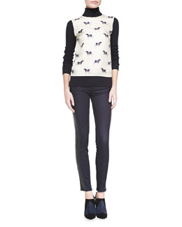 Tory Burch Etty Horse-Print Silk & Wool Sweater & Harlow Leather-Side Slim Jeans