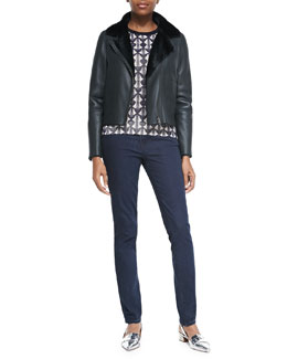 Tory Burch Caroline Lambskin/Shearling Jacket & Tia Printed Wool Sweater