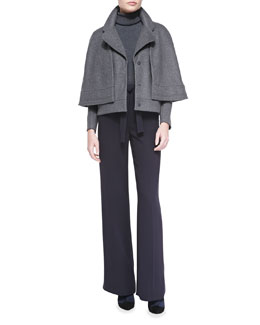 Tory Burch Jess Felt Jacket/Cape, Evangeline Turtleneck Sweater & Macey Crepe Tie-Waist Pants