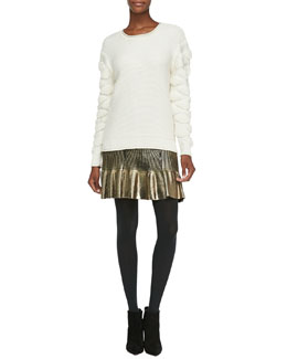Ohne Titel Tufted-Pattern Knit Pullover Sweater & Foiled Knit Ruffle-Hem Skirt