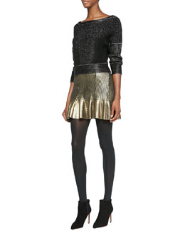 Ohne Titel Shimmery Metallic Knit Boat-Neck Sweater & Foiled Knit Ruffle-Hem Skirt