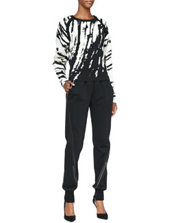 Ohne Titel Core Zebra-Stripe Knit Pullover & Leather-Trim Pull-On Track Pants