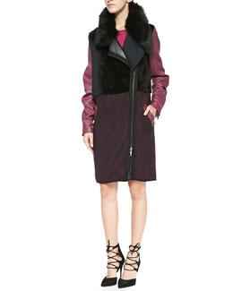 Ohne Titel Leather/Knit/Shearling Zip Coat & Knit Cap-Sleeve Side-Zip Dress