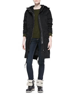 MARC by Marc Jacobs Classic Cotton Hooded Coat, Walley Waffle-Knit Sweater & Ella Fancy Skinny Denim Jeans