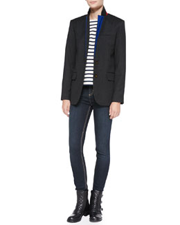 MARC by Marc Jacobs Junko Lightweight Wool Blazer, Jacquelyn Striped Round-Neck Top & Ella Skinny Denim Jeans
