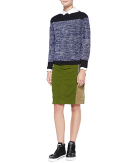 MARC by Marc Jacobs Julie Wool-Cashmere Sweater, Miki Cotton Oxford Shirt & Army Nylon Pencil Skirt
