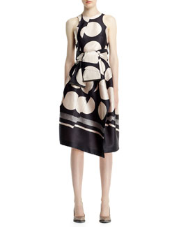 Stella McCartney Folded Dot Jacquard Dress and Sash Belt