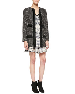 Nanette Lepore Incognito Fur-Trim Tweed Coat & Love Crime Solid-Trim Floral Dress