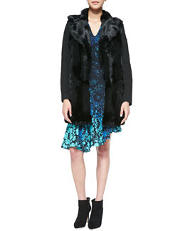 Nanette Lepore Luscious Rabbit-Fur/Knit Coat & Mystery Asymmetric Floral-Print Dress