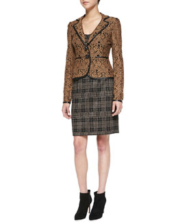 Nanette Lepore I Spy Leather-Trim Lace Jacket, Sleuth Stretch Plaid Corset Top & Sleuth Plaid Leather-Waist Skirt