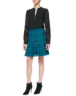 Nanette Lepore Trail Me Patchwork Silk Blouse & I Spy A-Line Lace Skirt