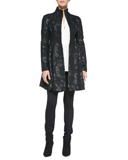 Nanette Lepore Skyscape Shimmery Brocade Coat, Trail Me Patchwork Silk Blouse & After Midnight Skinny Crepe Pants