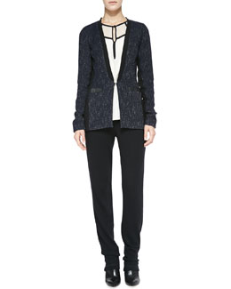 Nanette Lepore Scandal Leather-Trim Tweed Jacket, Hush-Hush Contrast-Trim Blouse & Sweater-Knit Pull-On Pants