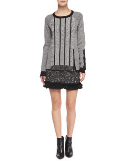 Nanette Lepore Leather-Elbow Interwoven Pullover & Undercover Fur-Trim Tweed Skirt