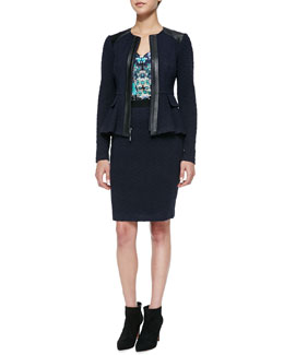 Nanette Lepore Keyhole Leather-Trim Textured Jacket, Tease Me Floral-Print Satin Tank & Sherlock Diamond-Pattern Pencil Skirt