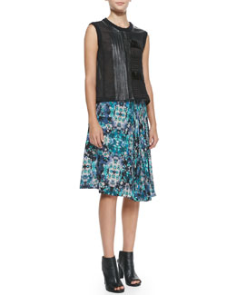 Nanette Lepore Getaway Leather/Patchwork Sleeveless Top & Foul Play Pleated Floral-Print Skirt