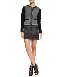 Nanette Lepore Intrigue Leather-Trim Tweed Jacket & Whirling Dervish Embroidered Miniskirt