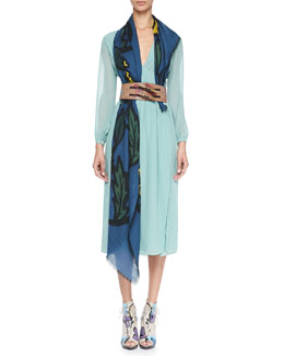 Burberry Prorsum Smocked Silk Dress, Hand-Painted Floral Wide Belt & Floral Cashmere Scarf