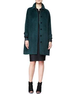 Burberry London Alpaca-Blend Drop-Sleeve Coat, Wide Placket Floral Shirt & Fil Coupe Pencil Skirt