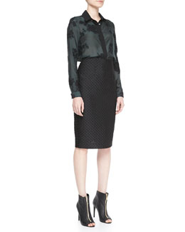 Burberry London Wide Placket Floral Shirt & Fil Coupe Pencil Skirt
