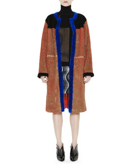 Marco de Vincenzo Honeycomb-Cutout Coat with Shearling, Long-Sleeve Rib-Knit Optical Sweater & Jacquard Lace Pleat Wave Miniskirt