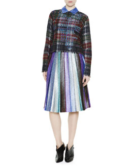 Marco de Vincenzo Collared Plaid Sweater & Metallic Pleated Skirt
