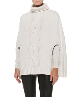 L'Agence Pullover Capelet with Braid Detail & Pullover Sweater with Braid Detail