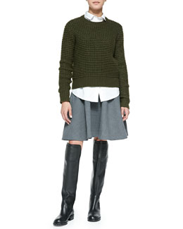 MARC by Marc Jacobs Walley Knit Crewneck Sweater, Miki Oxford Cotton Shirting & Sixties Wool-Blend Miniskirt