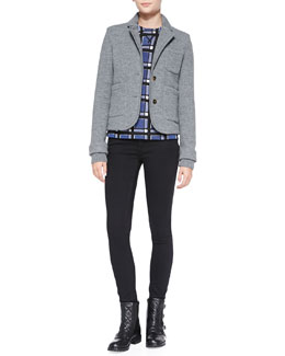 MARC by Marc Jacobs Skylar Knit-Trim Sweater Jacket, Toto Plaid Crepe Sweater & Stick Skinny Twill Jeans