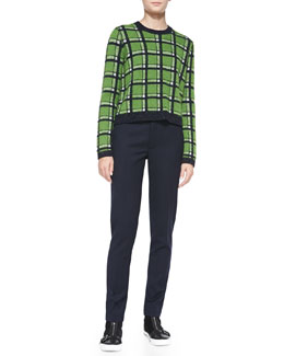 MARC by Marc Jacobs Prudence Rib-Trim Plaid Sweater & Junko Lightweight Wool Pants