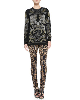 Roberto Cavalli Metallic Baroque Jacquard Sweater & Stretch Leopard-Print Leggings