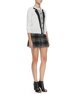 Alice + Olivia Long-Sleeve Knit Tuxedo Cardigan & Plaid Tweed Wide-Leg Shorts