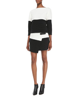 Alice + Olivia Dory Knit Two-Tone Top & Lennon Crossover Asymmetric Skirt