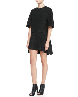Alice + Olivia Ida Structured Arch-Hem Top & Sibel High-Low Patterned Skirt