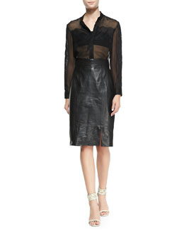 Alice + Olivia Vicka Sheer Chiffon/Lace Blouse & Long Leather Pencil Skirt