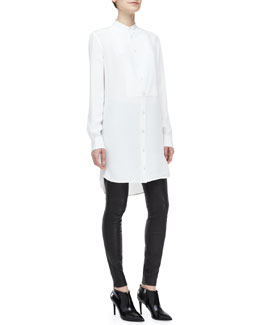 Ralph Lauren Black Label Calgary Long-Sleeve Silk Tunic and Abbey Stretch Leather Skinny Pants