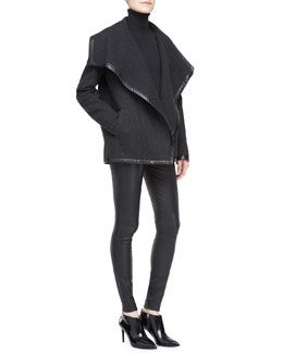 Ralph Lauren Black Label Talisa Boxy Wool Jacket, Long-Sleeve Turtleneck & Abbey Stretch Leather Skinny Pants