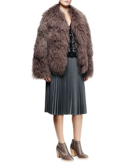 Milly Richelle Mongolian Lamb Fur Jacket, Cheetah-Print Jacquard Cardigan & Alex Accordion-Pleated Skirt