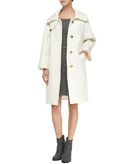 Milly Manon Wool-Blend Coat & Textured Fit-and-Flare Knit Dress