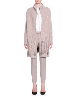 Piazza Sempione Brushstroke-Bottom Snap Coat, Button-Front Taupe-Trim Poplin Blouse & Techno Zip-Detail Riding Pants