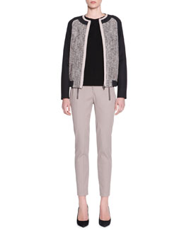 Piazza Sempione Tweed & Jersey Bomber Jacket, Long-Sleeve Scoop-Neck Sweater & Techno Zip-Detail Riding Pants