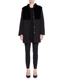 Piazza Sempione Puffer Jacket with Mink Fur, Long-Sleeve Contrast-Trim Knit Tunic & Kim Tropical-Weight Wool Pants