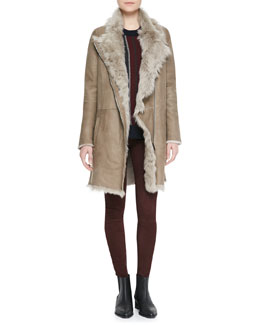Vince Asymmetric Shearling Coat, Cashmere Regimental-Stripe Sweater & Suede Flat-Front Leggings