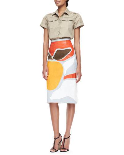 Washed Cotton Safari Shirt & Book Cover-Printed Pencil Skirt